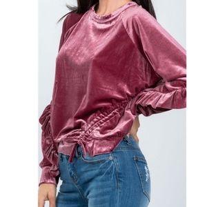Velvet Ruffle Dress Sweater Top